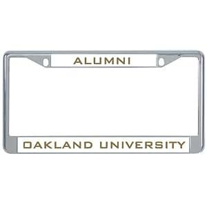 Amazon Com Oakland University Metal License Plate Frame