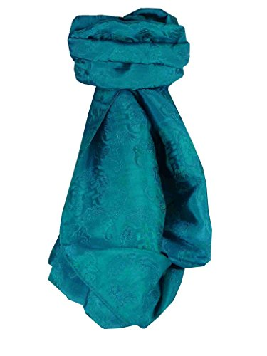 Foulard de Soie Réversible Vietnamienne Hoi-An Silk Weave Vung-Tau Teal par Pashmina & Silk