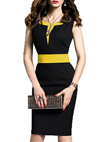 WOOSEA Women's 2/3 Sleeve Colorblock Slim Bodycon Business Pencil Dress (XX-Large, Yellow)