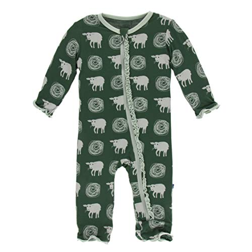 Kickee Pants Little Girls Print Muffin Ruffle Coverall with Zipper - Topiary Tuscan Sheep, 9-12 - Ruffle Coverall
