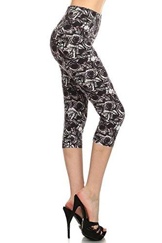 R949-CA-PLUS Black Bloom Capri Print Leggings