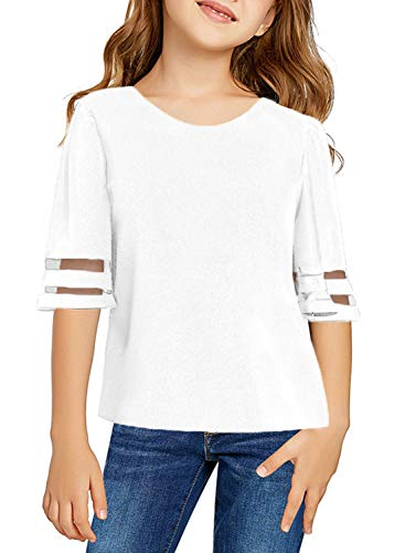 - GOSOPIN Girls Summer Strip Mesh 3/4 Sleeve Blouse Round Neck T-Shirt Large White