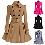 Birdfly Winter Warm Women Woolen Coat Pleated Skirt Parka Jacket Belt Overcoat Outwear