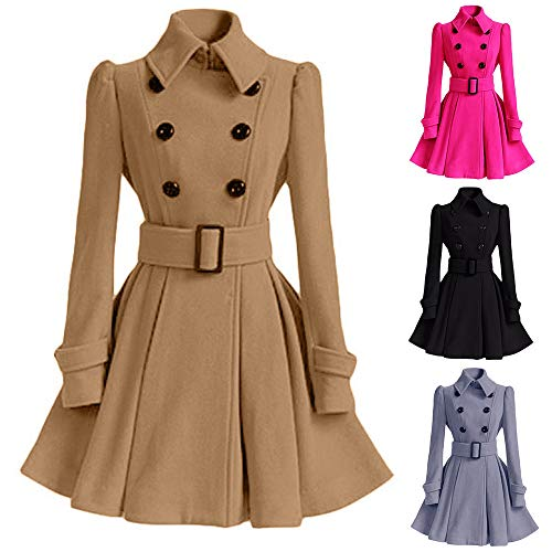 Best Price! Birdfly Winter Warm Women Woolen Coat Pleated Skirt Parka Jacket Belt Overcoat Outwear B...