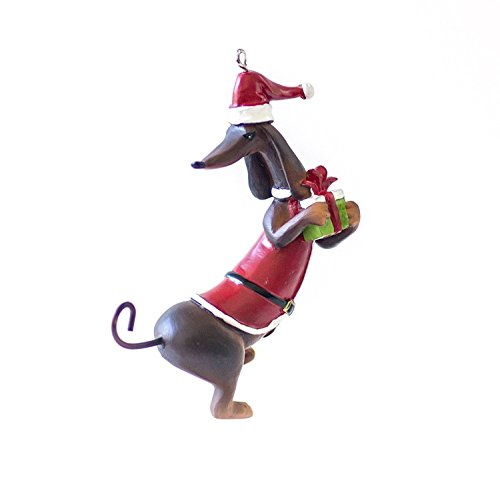 Perfectly Festive Dachshund Dressed as Santa Claus with Present Christmas Tree Ornament - Great Gift Idea