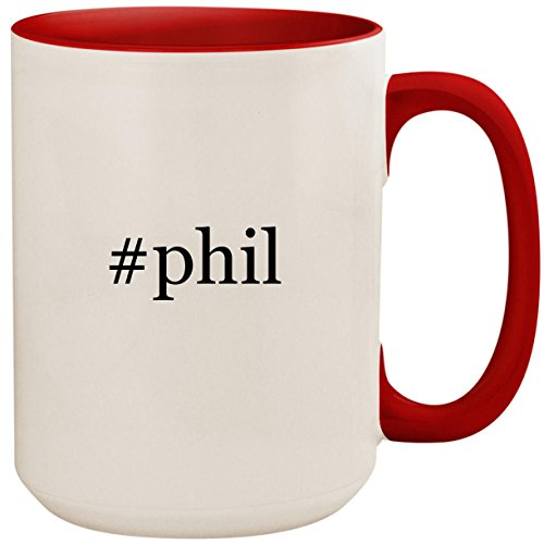 #phil - 15oz Ceramic Colored Inside and Handle Coffee Mug Cup, Red