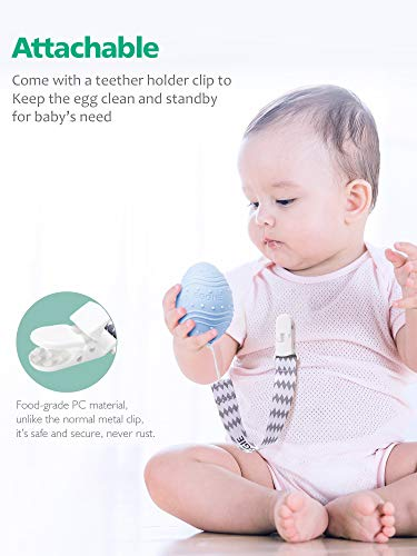 41SOkwI4fpL - Dino Eggie Baby Teether Egg-Shaped Teething Toy With Silicone Beaded Pacifier Holder Clip, BPA-Free, CPSC Lab Tested And Approved, For Baby Boys And Girls - Blue