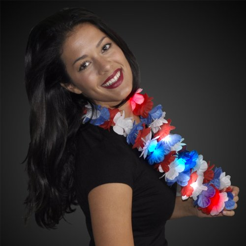 Red White & Blue Light Up Hawaiian Lei (Set of 12)
