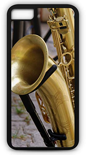 (iPhone 7 Case Saxophone Musical Instrument Wood Wind Brass Band Customizable by TYD Designs in Black Plastic Black Rubber Tough Case)