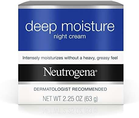 Neutrogena Deep Moisture Night Cream with Glycerin & Vitamin D3, Facial Moisturizer for Dry Skin with Shea butter, Glycerin, Vitamin D3, Non Greasy & Non Comedogenic, 2.25 oz