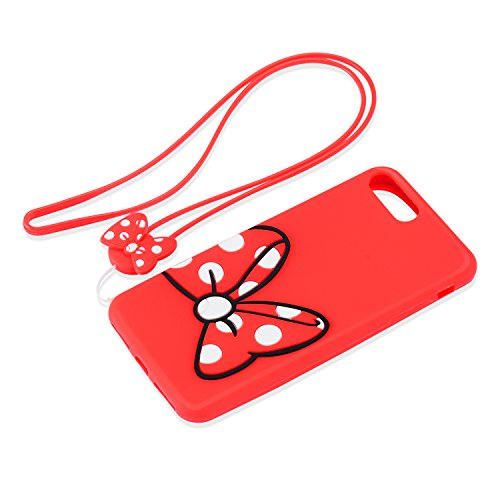 iPhone 8G Plus Case, iPhone 8 Plus Cover, 5.5 inch 3D Cute Cartoon Soft Silicone Case Bumper Back Cover with Neck Strap Lanyard for iPhone 8 5.5