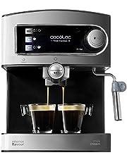Cecotec Power Espresso 20 espressomachine met espressomachine, melk, sproeier, roestvrij staal, waterreservoir van 1,5 liter, 850 W, geluidsloos bij 0 dB, energie-efficiëntieklasse in zilver/zwart