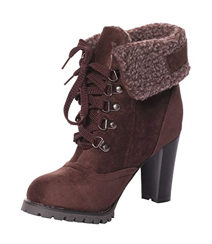CAIHEE Womens Lace Up Stiletto Heel Ankle Booties (9.5 B(M)US, Dark Brown) (Child Purple Furry Boot Covers)