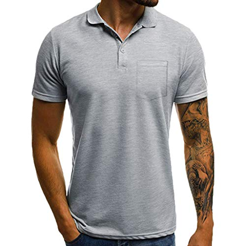 Men's Slim Solid Color Lapel Pocket Short Sleeve T-Shirt Top Polo t Shirt Blouse Gym Muscle Cool tees Gray