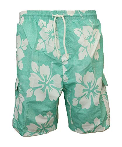 - SURF AVE Men's Classic Long Swim Trunks Bathing Suit, Surfer Hibiscus, No Grommets (X-Large, Green)