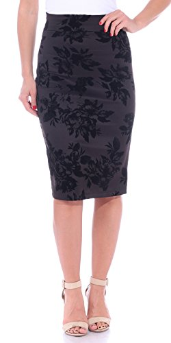 Popana Women's Stretch Pencil Skirt Knee Length High Waist for Work Made in USA Large Black
