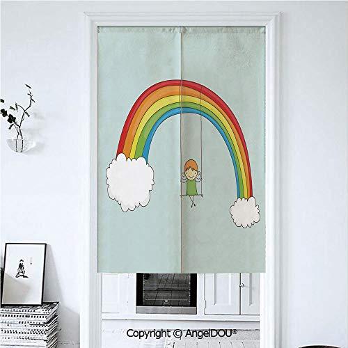 AngelDOU Rainbow Printed Good Fashion Fun Door Curtains Cute Cartoon Girl Swinging -