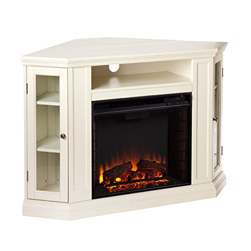 Electric Fireplace TV Stand Heater Corner Or Flat Free Standing Console Media Wooden Entertainment Center (Ivory)