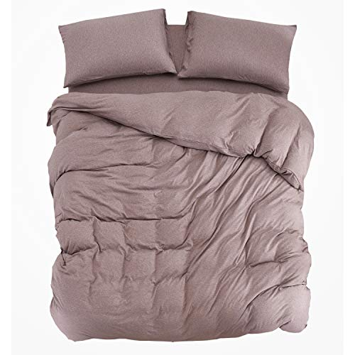 PURE ERA Ultra Soft Solid Cotton Jersey Knit Home Bedding Collection 3 Pieces Duvet Cover Set,1 Comforter Cover and 2 Pillow Shams Rosy Brown Queen