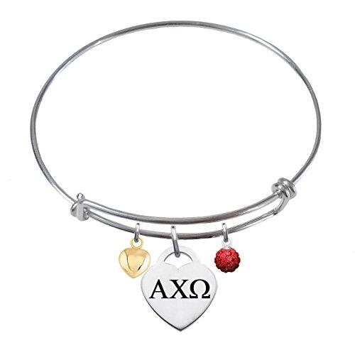 Alpha Chi Omega Sterling Silver Adjustable Bangle Bracelet With Heart (Omega Bangle)
