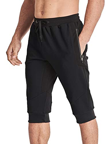 MAGCOMSEN Capri Joggers Men 3/4 Sweatpants Below Knee Shorts Running Shorts Walking Shorts Gym Shorts Zipper Pockets Jogger Pants for Men