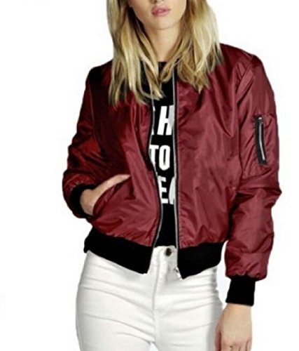 Jacket Women Short Wine Long Red Warm with Fashion Pockets Sleeve Outerwear CuteRose gwzF6z