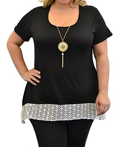 Urban Rose Women's Plus-Size Top, Sharkbite Lace Hem, Short Sleeve with Necklace,Black,3X by Urban Rose
