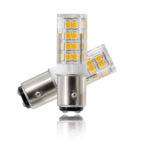 LED Ba15d Bulbs, Dimmable T4 JD Double Contact Bayonet Base Bulb,5w Replace 50w Halogen Bulb, 120v, Mini Ceramic Light Bulb (Pack of 2)… (Warm White) by ZXLN