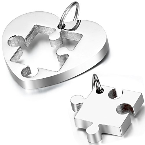 2PCS Oidea Stainless Steel Couple's Love Heart Puzzle Pendant Necklace for Wedding Anniversary,Chain Included, with Gift Bag Package,Silver