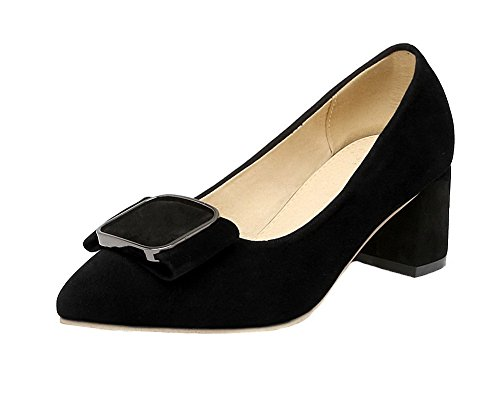à Talon Couleur Unie Légeres Chaussures Noir AalarDom Dépolissement Correct Femme pvnx4Ox