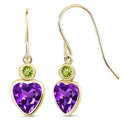 Gem Stone King 3.70 Ct Heart Shape Purple Amethyst Green Peridot 14K Yellow Gold Earrings