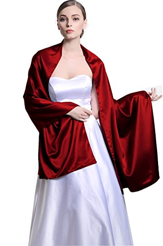 (Stain Warp Scarf Shawl Bridal Stole Wedding Silky Shrug for Women's Evening Prom Party Wine Red)