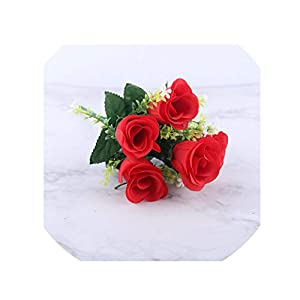 crystal004 5 Heads Artificial Rose Bouquet Silk Red Pink Royal Roses Fake Flower Garden Decor Indoor Decoration for Home Party A10034,Red 20