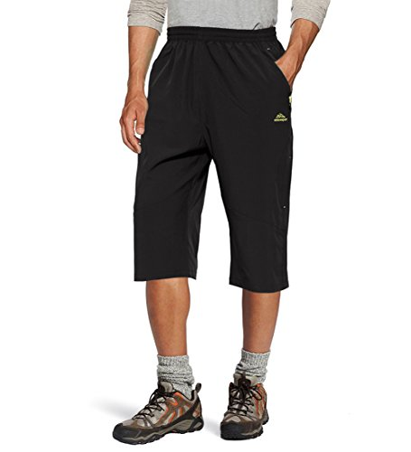 - TACVASEN Men's Summer Running Shorts Capri 3/4 Sports Hiking Cycling Cropped Pants Black