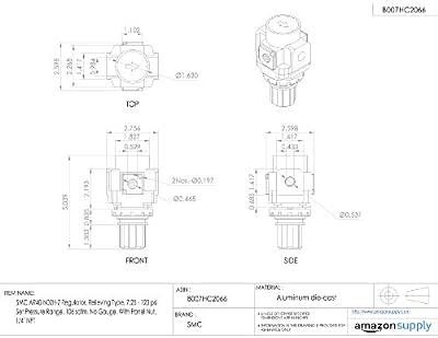 "SMC AR40-N02H-Z Regulator, Relieving Type, 7.25 - 123 psi Set Pressure Range, 106 scfm, No Gauge, With Panel Nut, 1/4"" NPT"