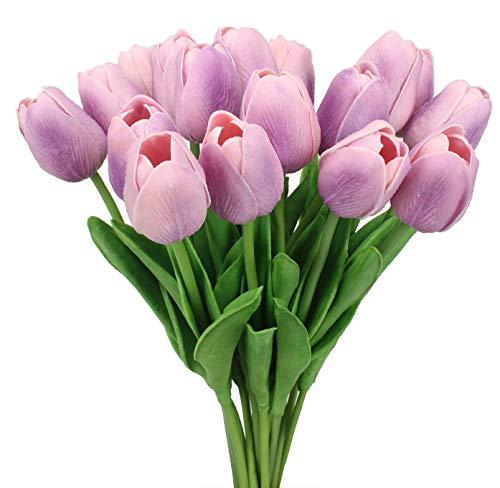 20 Heads Artificial Mini Tulips Real Touch Wedding Flowers Arrangement Bouquet Home Room Centerpiece Decoration (Light Purple) - 20 Tulip Light Bouquet