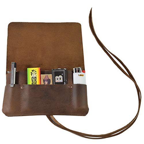 Hide & Drink, Rustic Leather Tobacco Pouch, Smoking and Field Notes Case Handmade Includes 101 Year Warranty :: Bourbon Brown