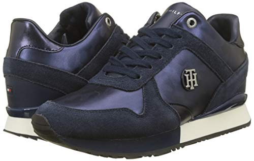 Hilfiger Navy Femme Bleu Tommy Sneakers Basses Sneaker Camo tommy 406 Metallic Wedge Bqvq7xw