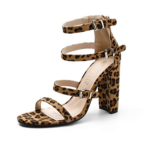 SANDALUP Heeled Sandals for Women Leopard 09 ()