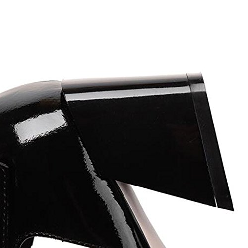 pez Hueco Hembra UK6 Color EU39 Tacones Hembra Zapatos tacón con Hebilla Negro Blanco Tamaño Boca MUMA Sandalias Blanco de CN39 Altos Grueso Negro Hembra 0awTqP1x