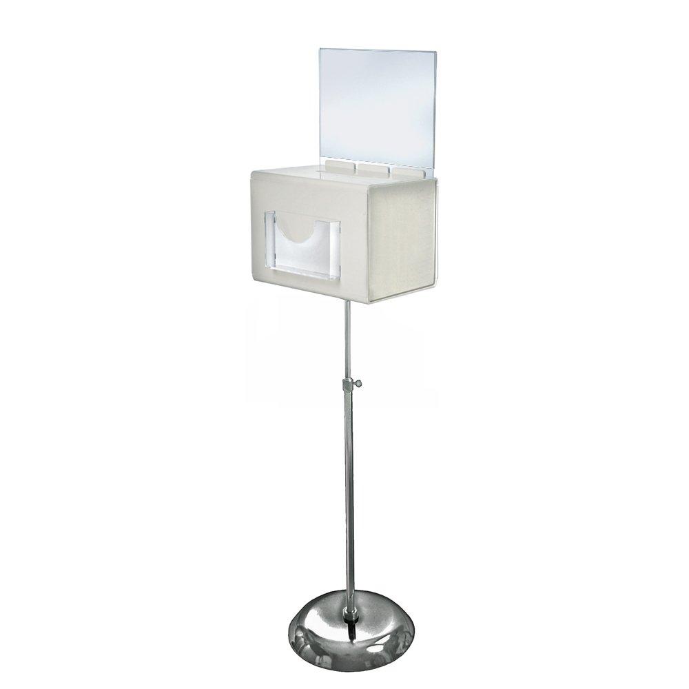Azar Displays 206325-WHT 11'' W x 8.25'' D x 8.25'' H Large White Suggestion Box with Pocket, Lock & Keys on Pedestal
