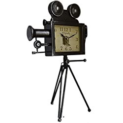 American Chateau Large 19 Black Antique-Style Movie Camera With Tripod Tabletop Mantel Clock
