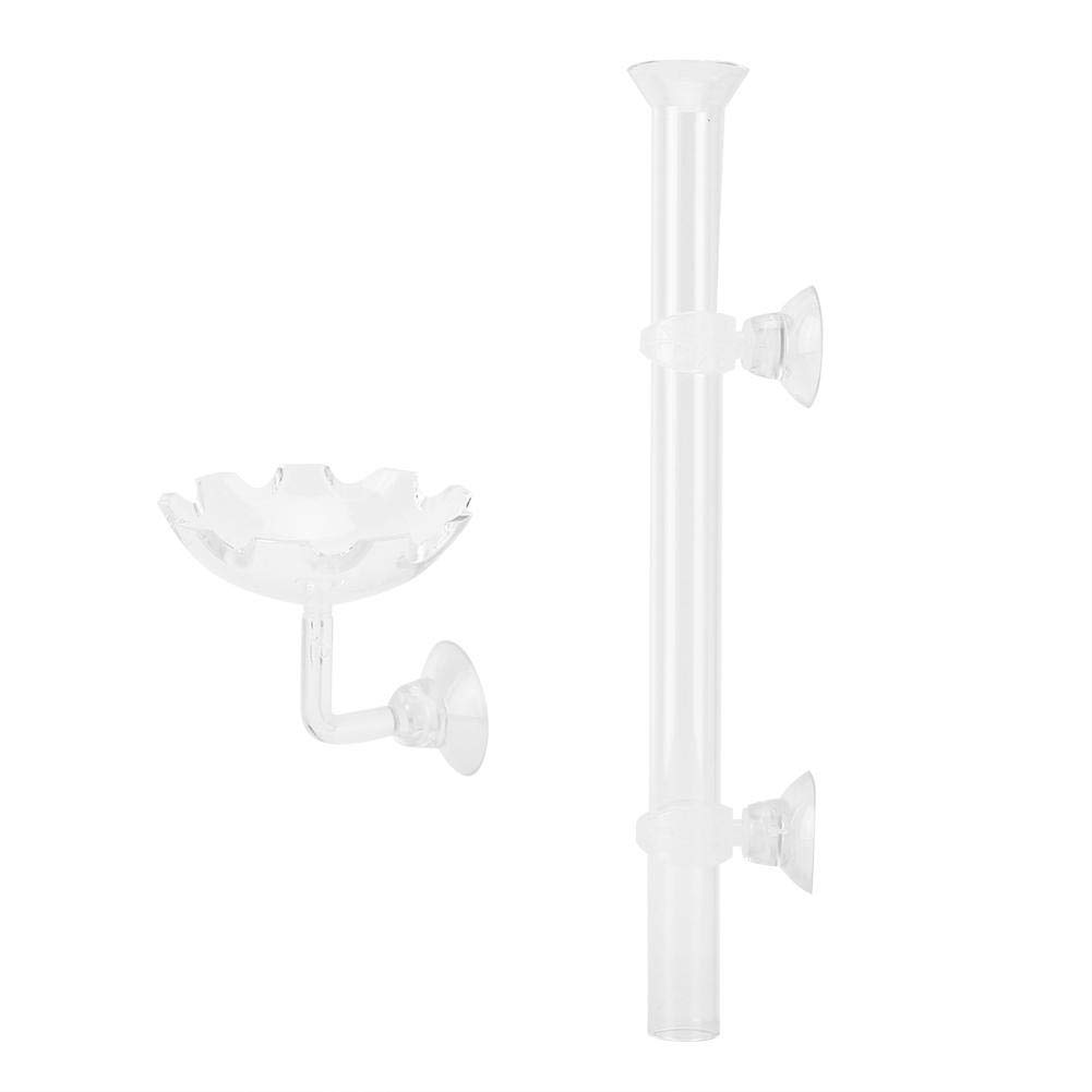 Shrimp Feeder Tube Firm Durable Accessory with Clips and Suction Cups Fixed Point Feeding Funtion for Feeding Fish Tank and Aquarium 20cm