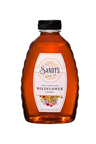 Sandt's Wildflower Honey, Unfiltered Raw Honey, Non-GMO Genuine, Pure Honey (2 lbs)