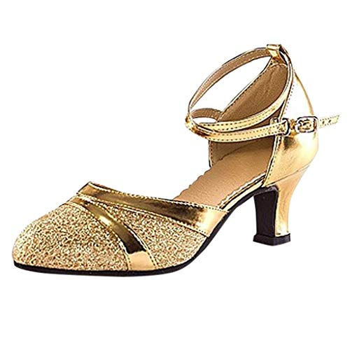 Sunhusing Womens Soft Bottom High Heel Waltz Dance Shoes Baotou Cross Strappy Adult Latin Dance Shoes Gold