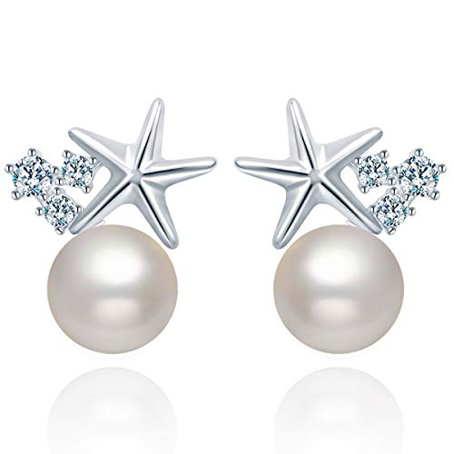 Pearl Stud Earrings for Women, Crystal from Swarovski Star Sterling Silver Women's Earrings ()