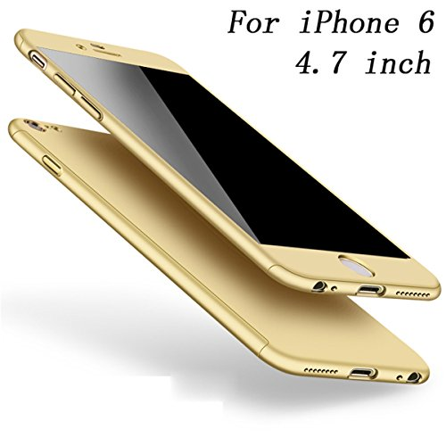 Coque iPhone 6S Coque iPhone 6 360 Protection PC 3 en 1 Full Cover Adamark Housse Integrale Bumper Etui Case Protège Écran en Verre Trempé Pour iPhone 6S/6 (Bleu) Or
