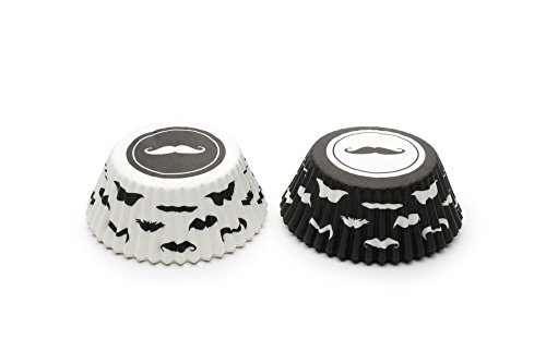 Fox Run 8046 Mustache Bake Cup Set, Standard, 100-Count, Black and White, Black & White -