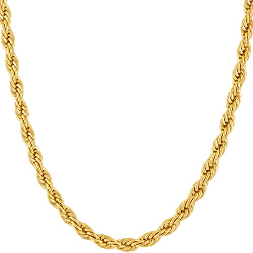 Lifetime Jewelry 5mm Rope Chain Necklace 24k Real Gold Plated for Men Women Teen with Free Lifetime Replacement Guarantee (Gold, 24)