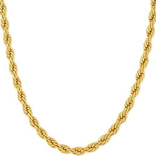 Lifetime Jewelry 5MM Rope Chain, 24K Gold with Inlaid Bronze Premium Fashion Jewelry Pendant Necklace Made to Wear Alone or with Pendants, Guaranteed for Life, 16 to 36 Inches